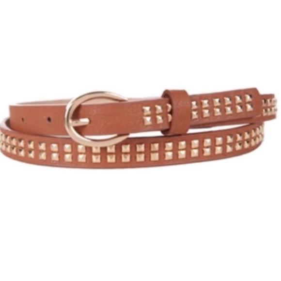 Lulu's Accessories - Lulu Gold Studded Brown Belt